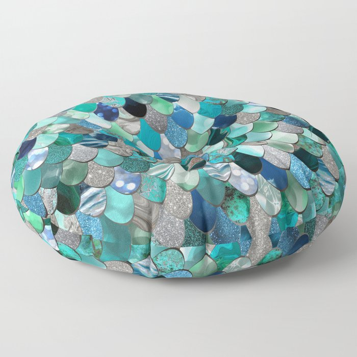 Mermaid Sea, Teal, Aqua, Silver, Grey Floor Pillow