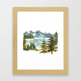Forest green teal blue watercolor hand painted landscape Framed Art Print