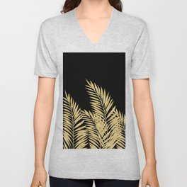 Palm Leaves Golden On Black Unisex V-Neck
