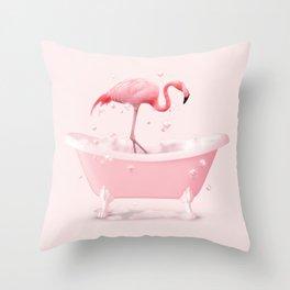BATHTUB FLAMINGO Throw Pillow