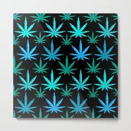 Marijuana Teal Turquoise Weed Metal Print