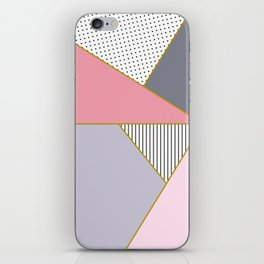 Elegant polka dots, stripe and pastel color block iPhone Skin