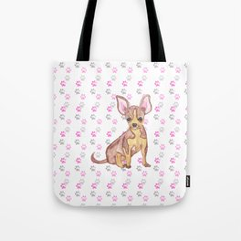Cute Chihuahua Puppy in Watercolor and Paw Prints Tote Bag