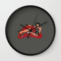 rocky horror picture show Wall Clocks featuring Rocky Horror Burlesque Show by C. Amanda Boutahorse