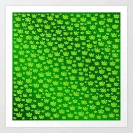 green metal shiny maple leaf on shimmering texture Art Print