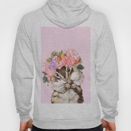 Baby Squirrel with Flowers Crown in Pink Hoody