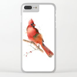 cardinal on the branch Clear iPhone Case