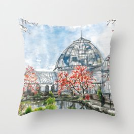 Detroit Belle Isle Conservatory Throw Pillow