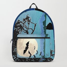 October Moon Cat watching bats on fence Backpack