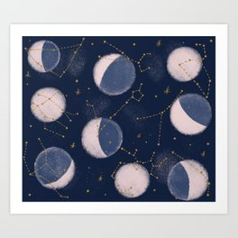 Moon phases with zodiac Constellations Art Print