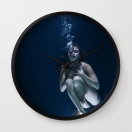 Woman Underwater Wall Clock