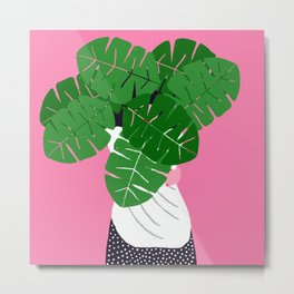 A woman with a plant Metal Print
