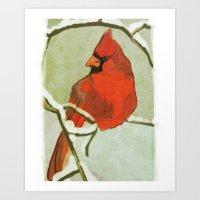 Winter Red Cardinal Art Print