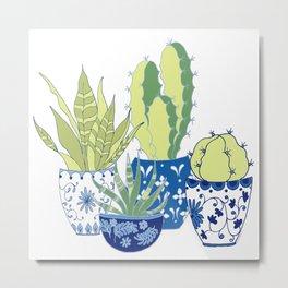 Chinoiserie Cactus Garden Metal Print