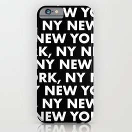 New York, NY Graphic Pattern 121 Black and White iPhone Case