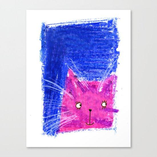 Crayon Cat Canvas Print