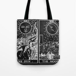 The Sun and Moon Tarot Cards | Obsidian & Pearl Tote Bag