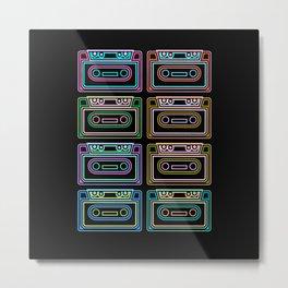 Retro Cassettes Colorful 80s 90s Cassette Metal Print