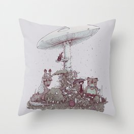 Rain of Spores Throw Pillow
