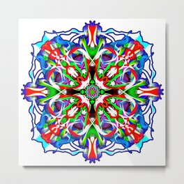 Ice Blue And Red Hot Metal Print