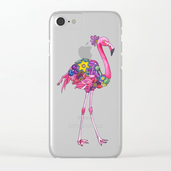 Fancy Felicity Flamingo Clear iPhone Case