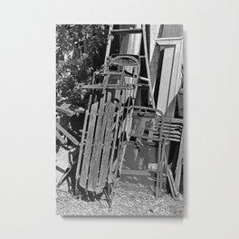 Old Sled- vertical Metal Print