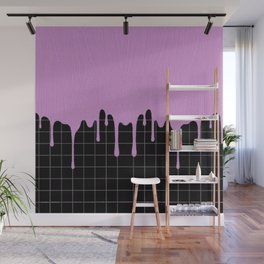 Purple Dripping Paint on Lines Wall Mural