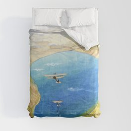the Sea of Galilee - Aeroplanes attacking Turkish Boats - Sydney William Carline Comforters