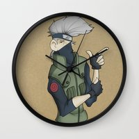 kakashi Wall Clocks featuring Kakashi by Salva Laserna