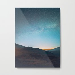 Milky Way Galaxy Star Sky Above Mountain Range Sunset Metal Print