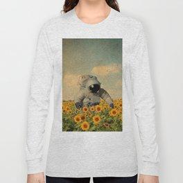 Astronaut Sunflower Art Long Sleeve T-shirt