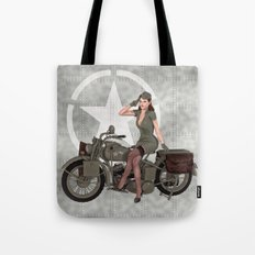Army Red Head Pinup Tote Bag