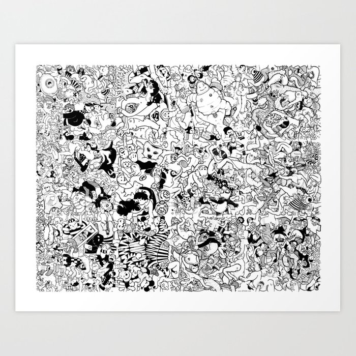 giant coloring poster : orgy Art Print by olivox