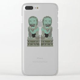 Lion Statues Clear iPhone Case