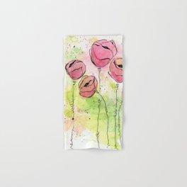 Pink and Green Splotch Flowers Hand & Bath Towel