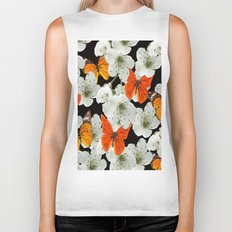 Cherry flowers and colorful butterflies on a black background Biker Tank