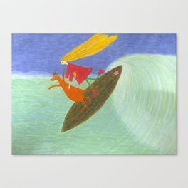 Ozzi and Lulu, Surfing Canvas Print