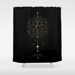 Aries Zodiac Constellation Shower Curtain