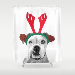 Black and White Boxer Christmas Shower Curtain