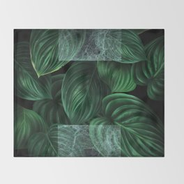 tropical green pattern on black Throw Blanket