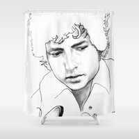 dylan Shower Curtains featuring BOB  DYLAN by ART FEEDS HUNGER