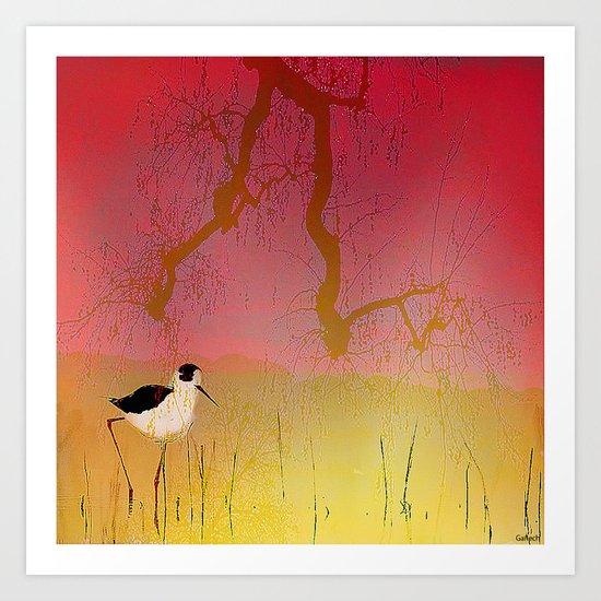Setting sun on the rice field Art Print