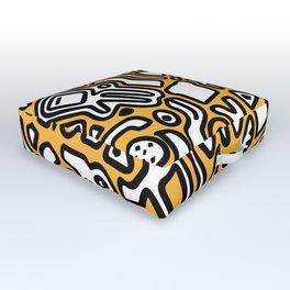 black doodle on orange Outdoor Floor Cushion