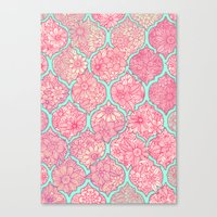 moroccan Canvas Prints featuring Moroccan Floral Lattice Arrangement in Pinks by micklyn