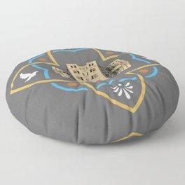 Athens Greece City Travel Tile Pattern Greek Architecture Ornament Floor Pillow