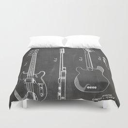 Bass Guitar Patent - Bass Guitarist Art - Black Chalkboard Duvet Cover