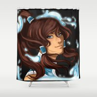 the legend of korra Shower Curtains featuring Korra by BubbleJuiceBox