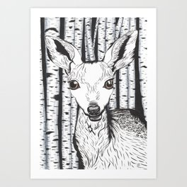 Ink and watercolor black and white doe/deer in the forest Art Print