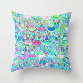 Art Deco Watercolor Patchwork Pattern 2 Throw Pillow