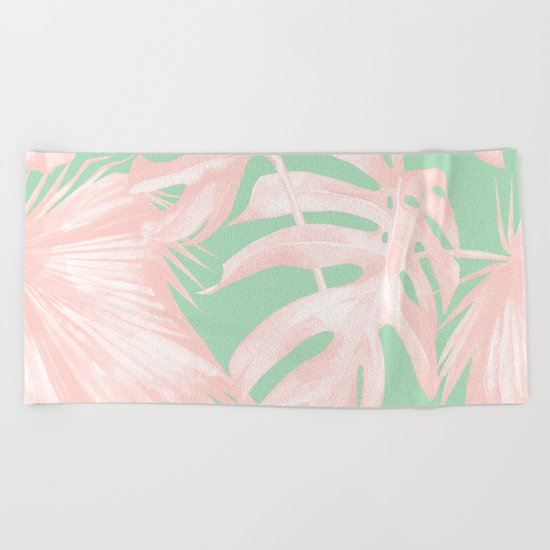 Tropical Palm Leaves Coral Pink Mint Green Beach Towel